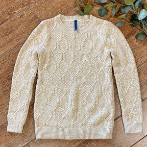 Falls Creek Gold Shimmer Cable Knit Sweater, M